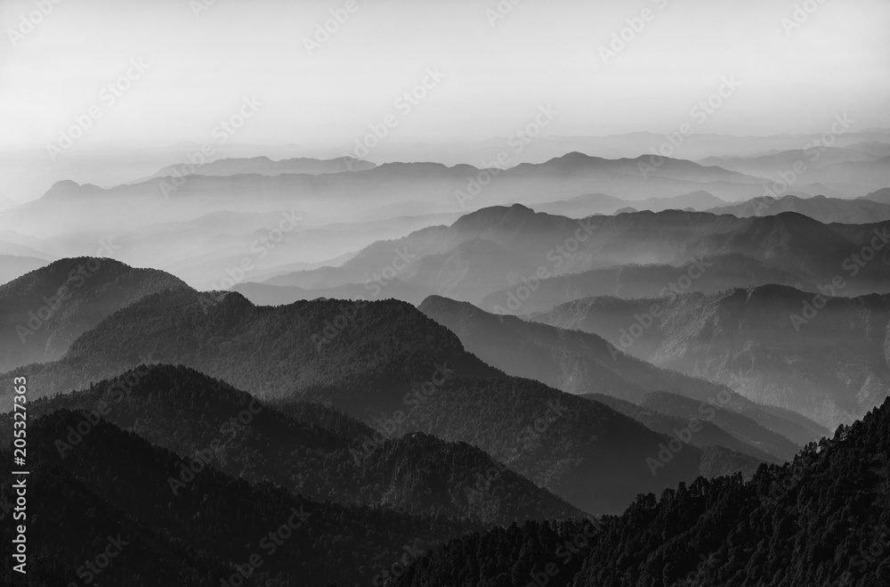 Fototapeta Valley and mountains in black and white