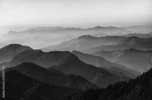 Fotografie, Obraz  Valley and mountains in black and white