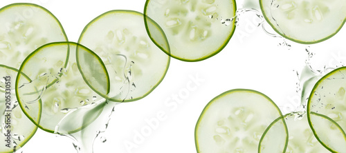 Fototapeta Sliced cucumber background obraz