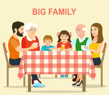 Smiling Big Family Sitting At The Dinner Table In Kitchen With A Checkered Tablecloth. Vector Flat Style Illustration