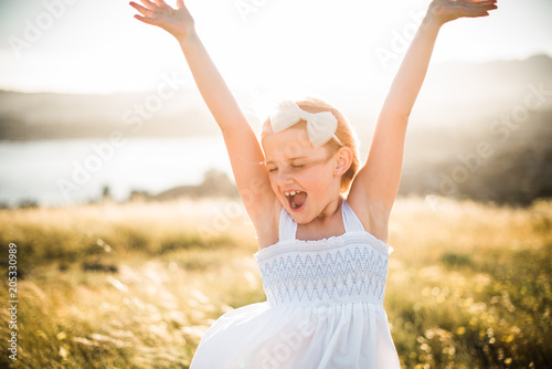 Portrait of girl with open arms