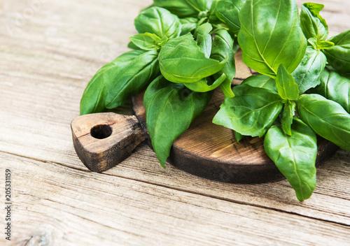 Deurstickers Aromatische Fresh green basil