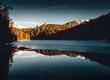 Sonnenaufgang am Eibsee in den bayerischen Alpen
