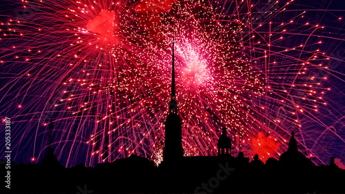 Poster Bordeaux Illustration of colorful fireworks on Peter and Paul Fortress, Saint-Petersburg, Russia. Holiday light with Russian cityscape silhouette.