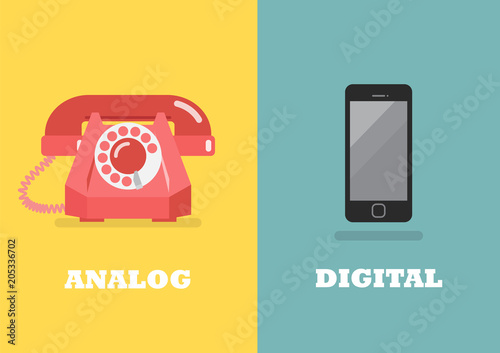 Retro phone in Analog Age and modern phone in Digital Age Wallpaper Mural