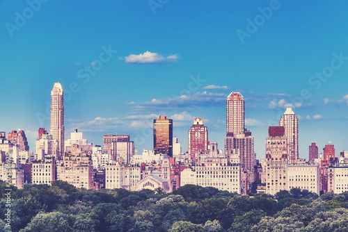 Foto op Canvas New York City New York City Upper East Side skyline over the Central Park, color toned picture, USA.