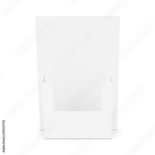 cardboard flyer dispenser front view brochure holder mockup pamphlet display template vector - Paper Brochure Holder Template