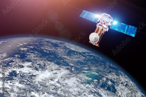 Keuken foto achterwand Nasa Research, probing, monitoring of in atmosphere. Satellite above the Earth makes measurements of the weather parameters. Elements of this image furnished by NASA.