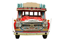 Front Truck Retro Pattern Thailand On White Background.isolated
