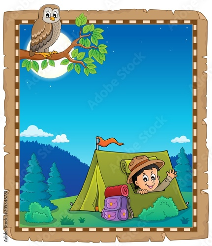 Staande foto Voor kinderen Parchment with scout in tent theme 1