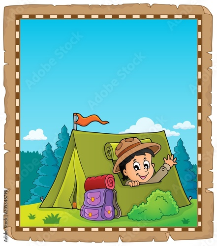 Foto op Canvas Voor kinderen Parchment with scout in tent theme 2