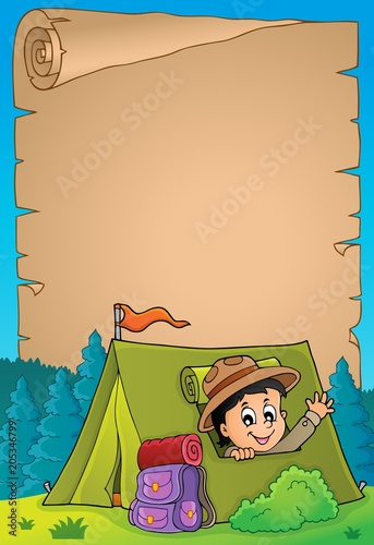 Foto op Canvas Voor kinderen Parchment with scout in tent theme 3