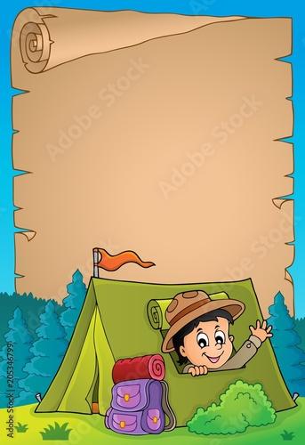 Staande foto Voor kinderen Parchment with scout in tent theme 3