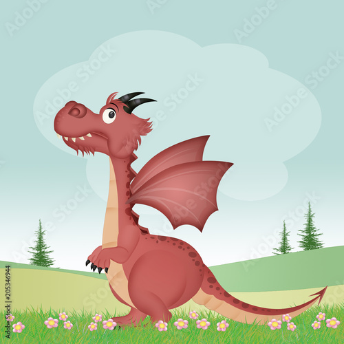 illustration of dragon in the meadow