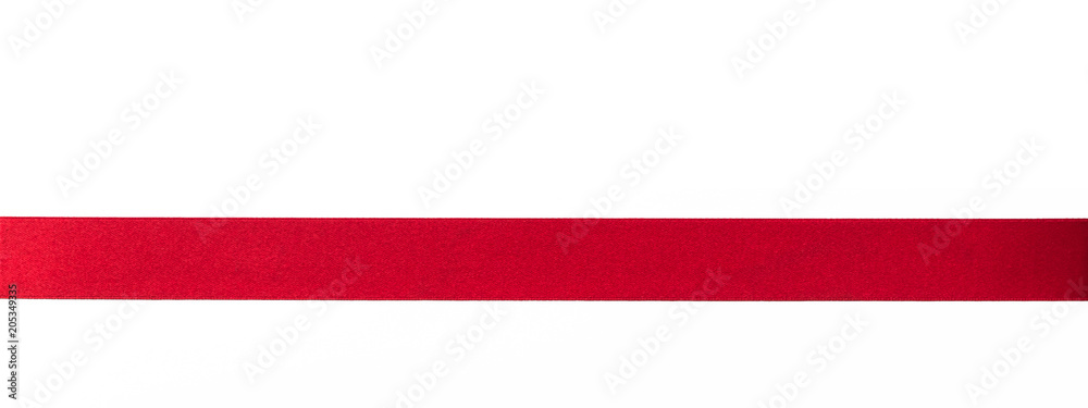 Fototapety, obrazy: Red satin ribbon band stripe fabric bow isolated on white background with clipping path