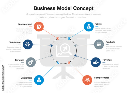 Vector infographic for business model visualization template