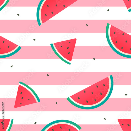 Cotton fabric Watermelon Seamless Pattern Vector illustration, watermelon slices on pink and white stripes background.