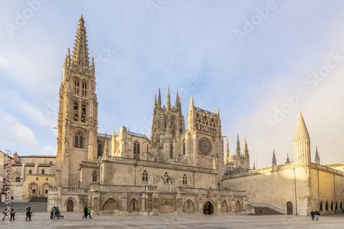 Burgos, España; 01 14 2017: La Catedral de Santa María de Burgos, es el máximo exponente del gótico en España