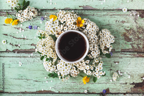 Tasse De The Bio Sur Fond Bleu Et Fleurs Buy This Stock Photo And