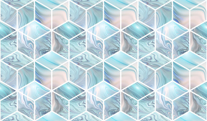 Panel Szklany3d cubes. Abstract seamless pattern with blue and beige marble textures. Fantasy design for wallpapers or fabric.