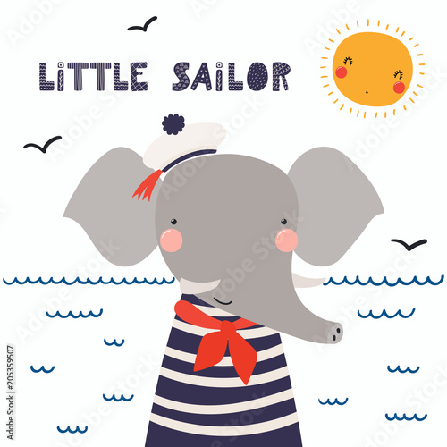 Printed kitchen splashbacks Illustrations Hand drawn vector illustration of a cute funny elephant sailor in a cap, neckerchief, with lettering quote Little sailor. Isolated objects. Scandinavian style flat design. Concept for children print.