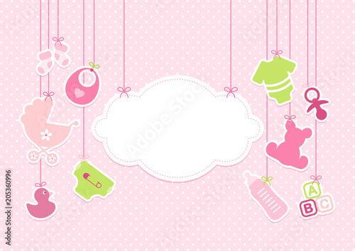 Obraz Card Baby Girl Symbols Hanging Cloud Pink - fototapety do salonu