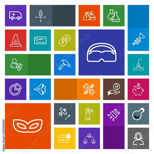 Modern, simple, colorful vector icon set with bank, light, car
