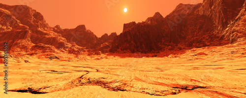 Recess Fitting Orange Glow 3D Rendering Planet Mars Lanscape