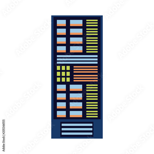 Modern computer server rack at data center, database icon