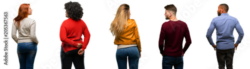 Photo Group of cool people, woman and man backside, rear view