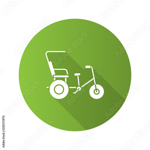 Valokuva Cycle rickshaw flat design long shadow glyph icon