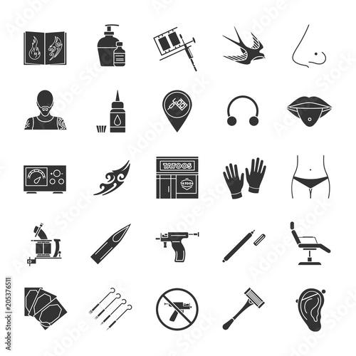 Photo Tattoo studio glyph icons set