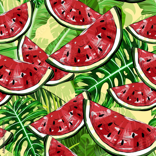 Cotton fabric Seamless pattern with watermelons and tropical leafs
