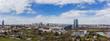 Skyline von Frankfurt mit EZB und Henniger Turm vorne Spargelanbau, Frankfurt am Main, Hessen, Deutschland