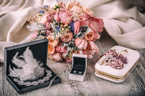 Wedding composition. Bride accessories