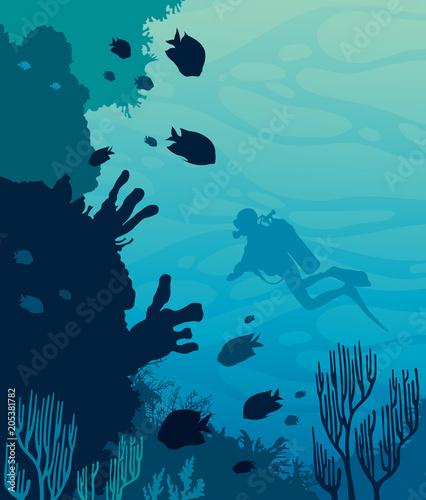 Fototapeta premium Scuba diver, coral reef, sea.