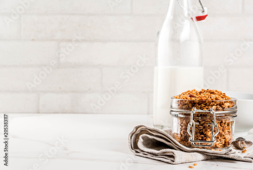 Vászonkép  Homemade granola from mix of cereals (barley, oat, rye, bran) with dry fruits, n