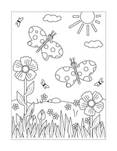 Spring Or Summer Joy Themed Coloring Page With Butterflies, Flowers, Grass.