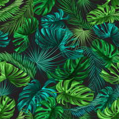 FototapetaVector tropical leaves summer seamless pattern