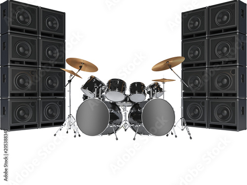 Drum kits and guitar amplifiers. Isolated on white background Wallpaper Mural
