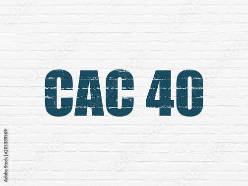 Obraz na plátně Stock market indexes concept: Painted blue text CAC 40 on White Brick wall backg