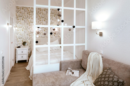 Fototapety, obrazy: Cozy bedroom, nightstand and wardrobe. Life-changing minimalism