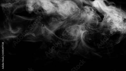 Fotobehang Rook White smoke collection on black background.