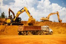 Loading Dump Truck On Construction Site