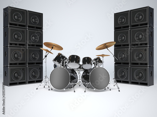 Photo Drum kits and guitar amps