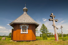 Little Eastern Orthodox Chapel In Open Air Folk Museum Skansen In Bialowieza, Poland.