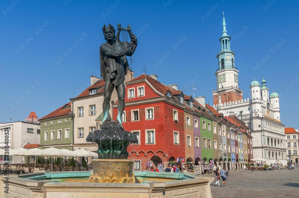 Fototapety, obrazy: Posąg Orfeusza i ratusz na starym rynku