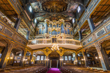Interior Of Magnificently Decorated Wooden Protestant Church Of Peace In Swidnica, UNESCO World Cultural Heritage, Poland.