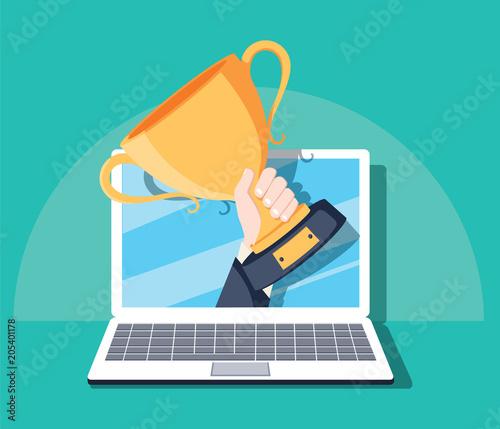 Fotografía Online award goal achievement vector, flat cartoon computer and success winner h