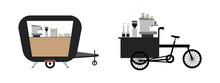 Coffee Street Bicycle Cart.cafe Design Set Street Food Truck Shop.